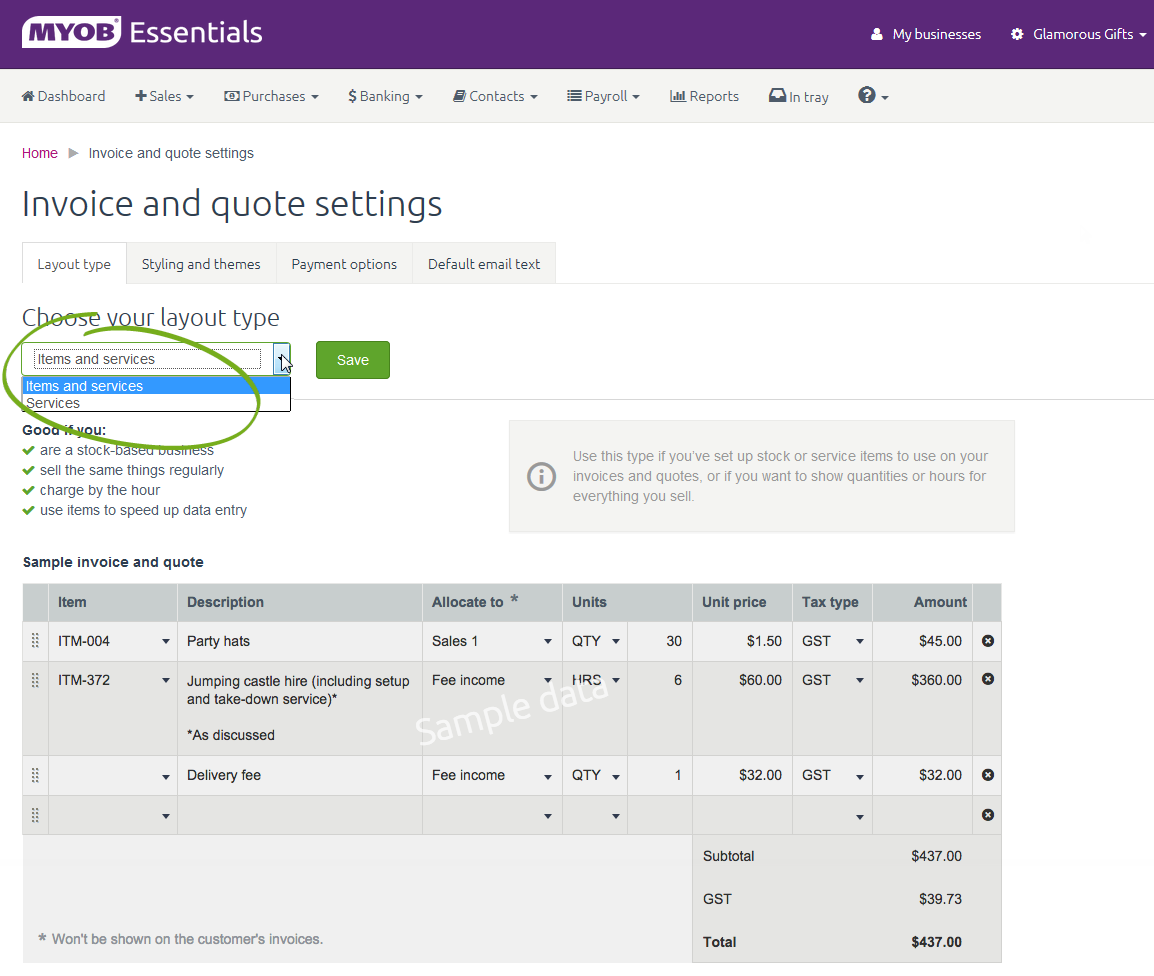 invoice and quote settings - myob essentials accounting - myob, Invoice examples