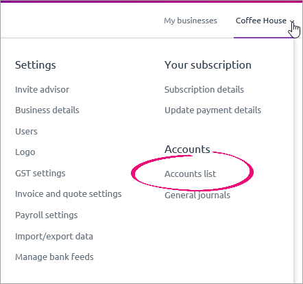 Settings menu with accounts list highlighted