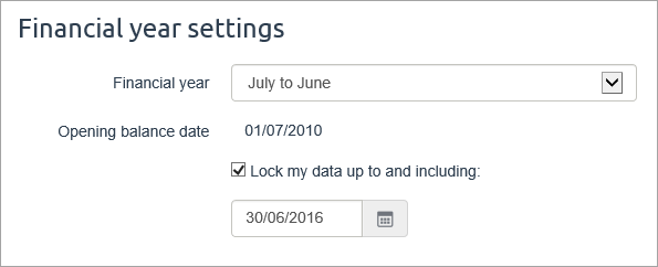 Financial year settings with lock period option selected