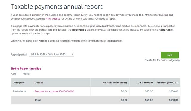 Using Xero's Taxable Annual Payments Report - dummies
