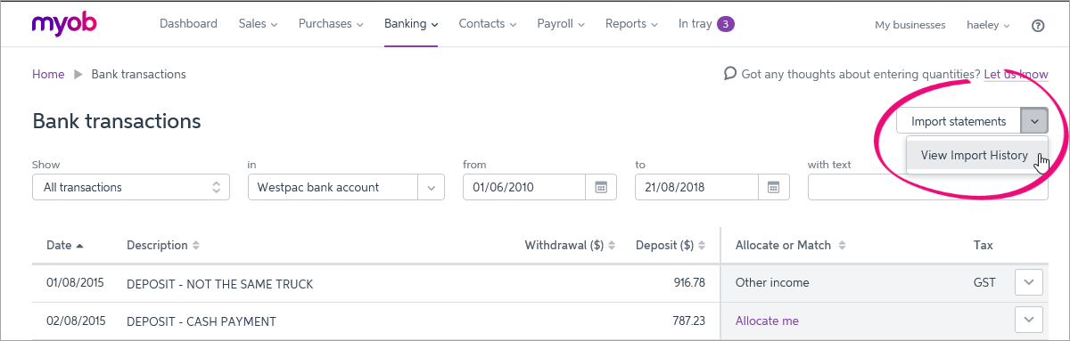 Deleting imported bank statements - MYOB Essentials Accounting
