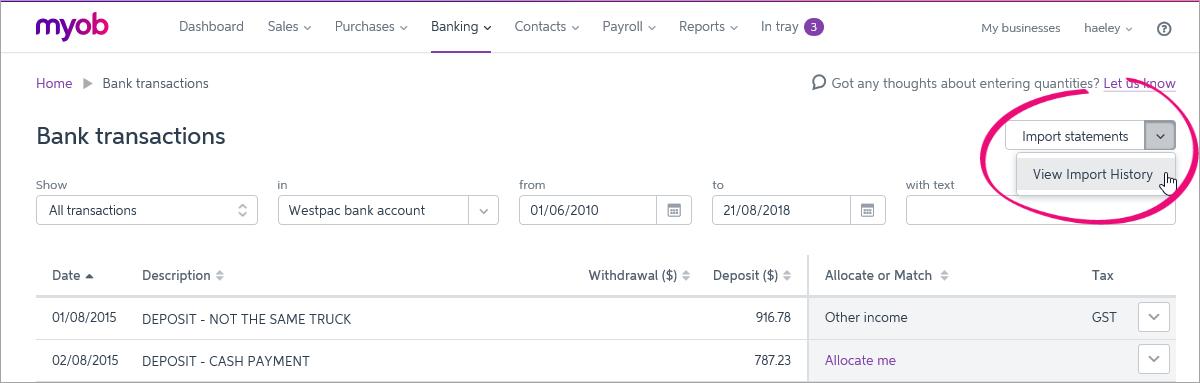 Deleting imported bank statements - MYOB Essentials