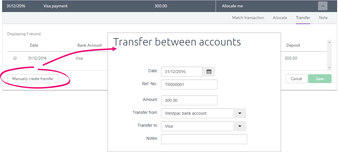Transfer between accounts window with manually create transfer highlighted