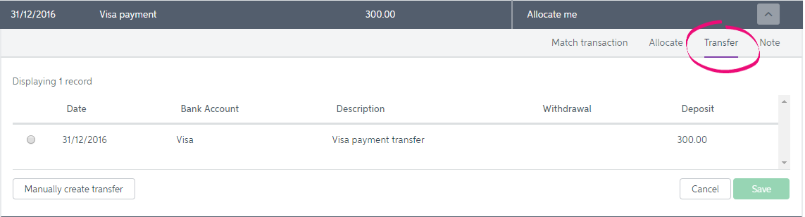 Expanded transaction with transfer highlighted