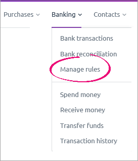 Banking menu showing manage rules option