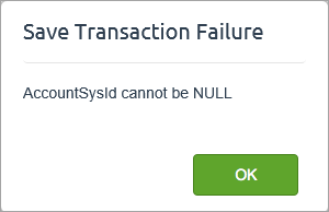 example save transaction failure error