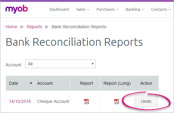 Bank Reconciliation Reports page with undo button highlighted