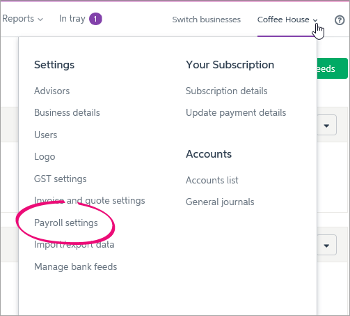 Business name clicked with payroll settings option highlighted
