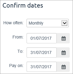 confirm dates with July dates entered
