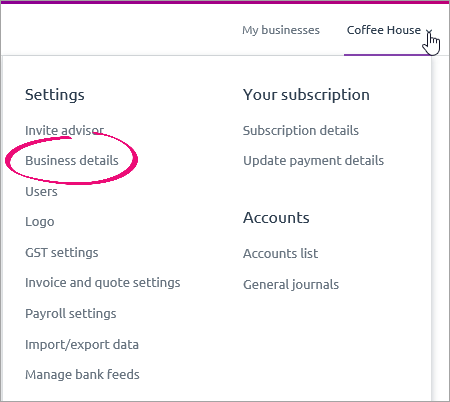 Settings menu with business details highlighted
