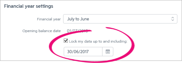 Lock my data option selected with date entered