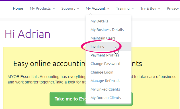 My account menu with invoices option highlighted