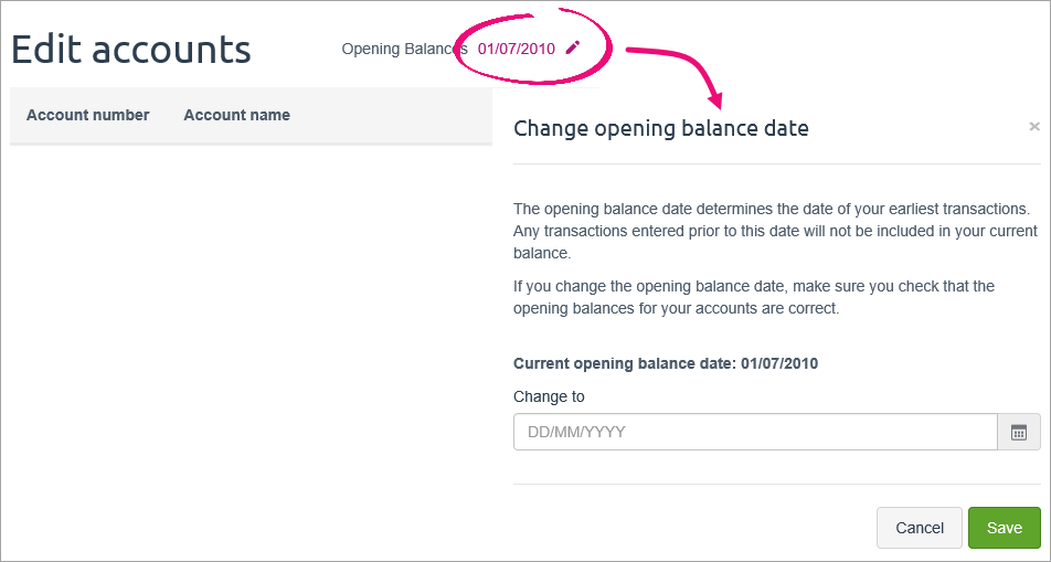 change opening balance date popup window
