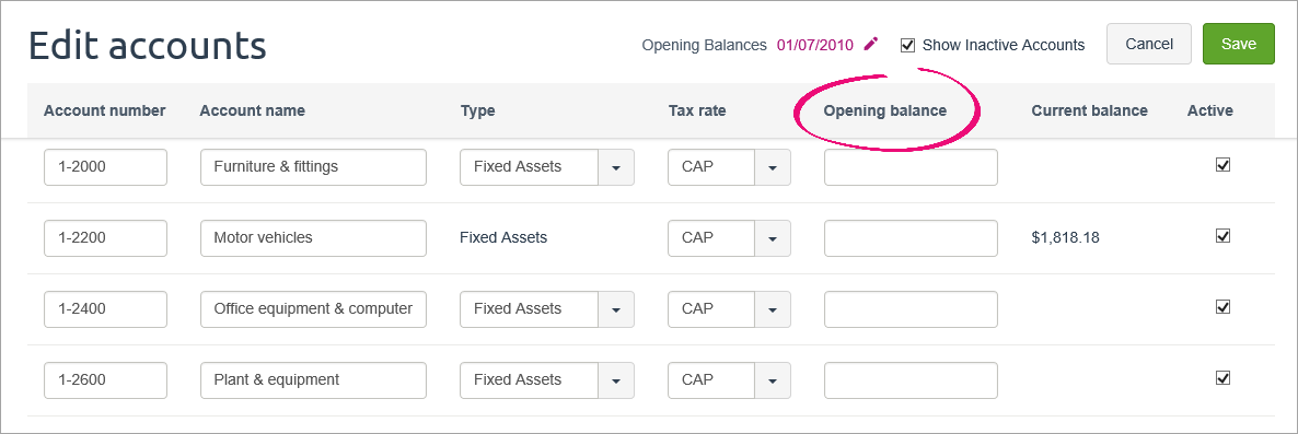 Edit accounts page with opening balance column highlighted