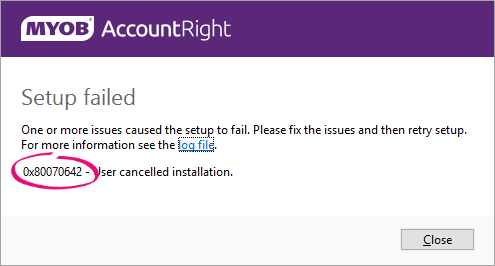 Installation troubleshooting - MYOB AccountRight - MYOB Help