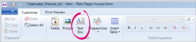 Tex box button highlighted