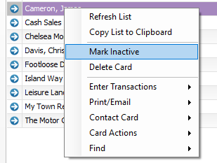 Marking a card as inactive