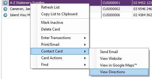 Access more card options by right-clicking a card in the list.