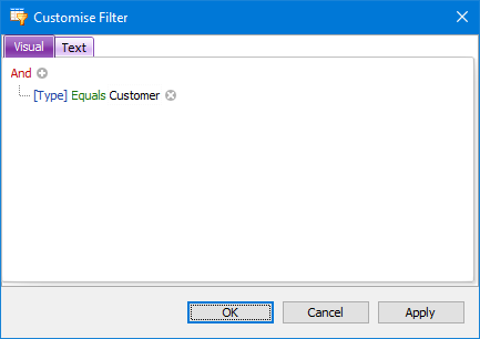 Customise Filter window