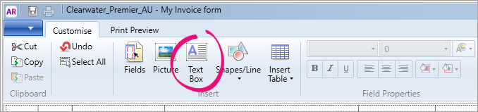 Click the Text Box option in the toolbar