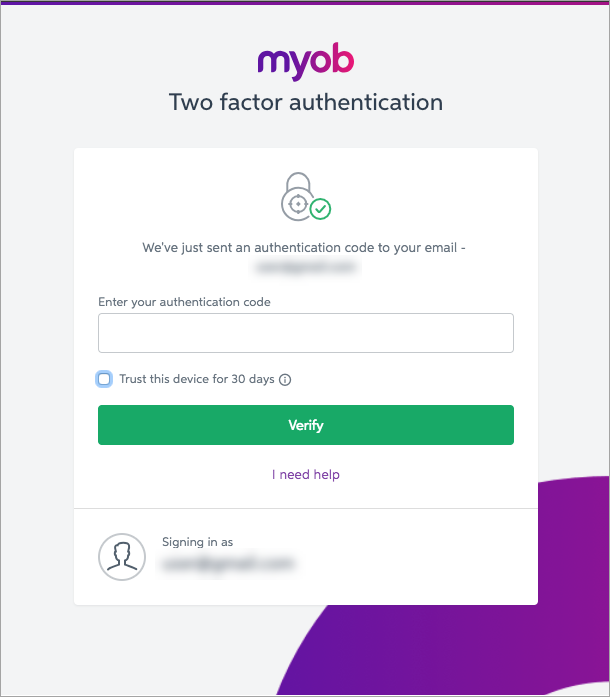 Two-factor authentication - Sign-in and Security - MYOB Help Centre