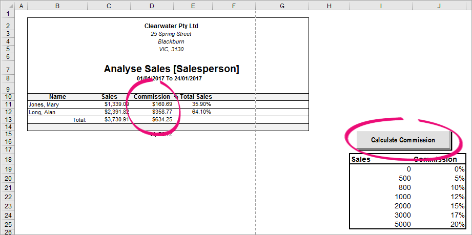 calculating sales commission - myob accountright