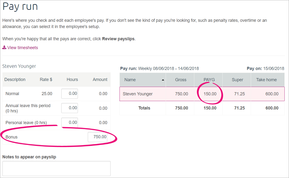 bonus and payg fields highlighted in the pay run