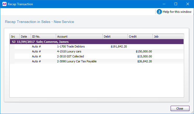 Recap transaction window with account allocation breakdown
