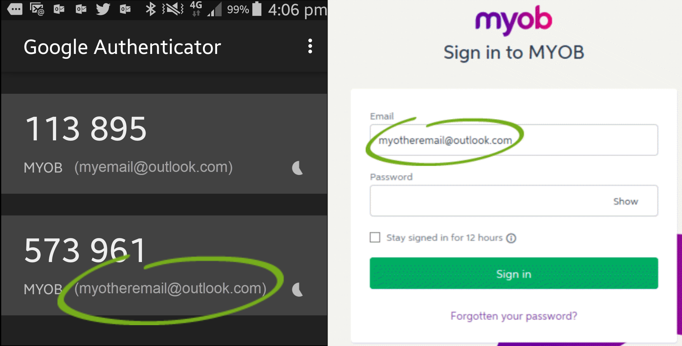Ensure your MYOB login email matches your 2FA account