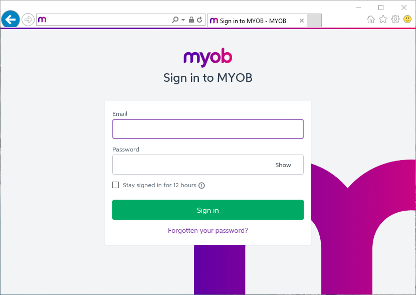 Sign in to your MYOB account