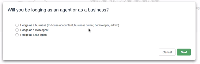 Select whether you're a business or agent.
