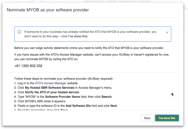 Follow the steps to nominate MYOB as your software provider