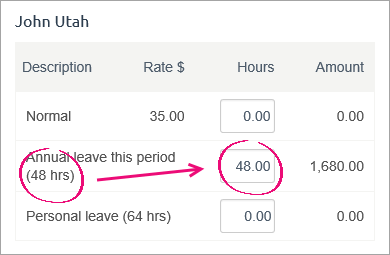 example pay with the same amount of leave available and paid