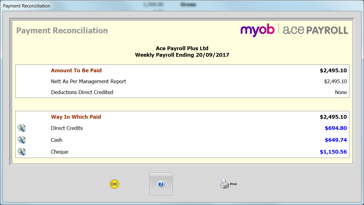 payment reconciliation report ace payroll myob help centre