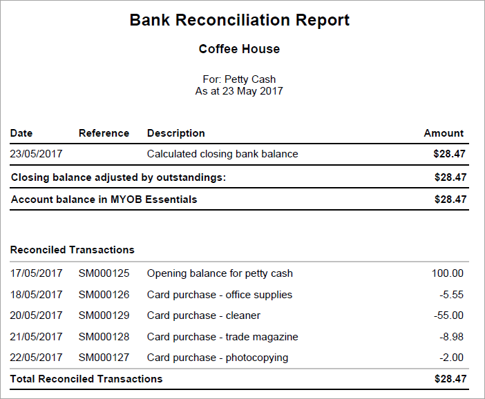 example bank reconciliation report