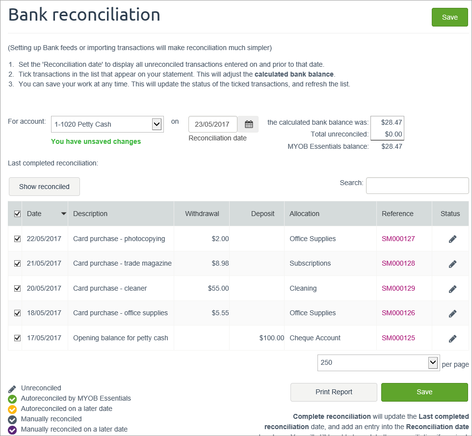 example bank reconciliation with petty cash transactions selected