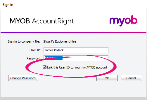 Link your MYOB account and company file user account when signing in to your file