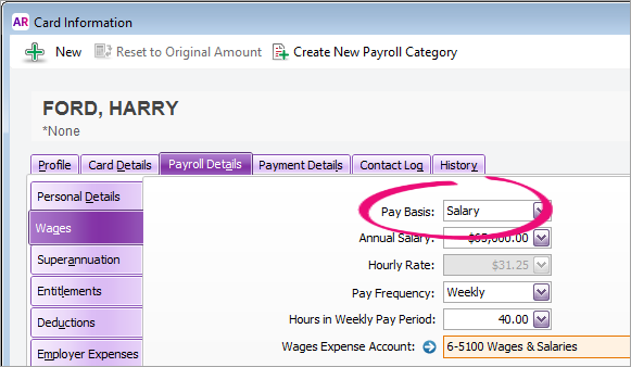 Employee card with pay basis highlighted