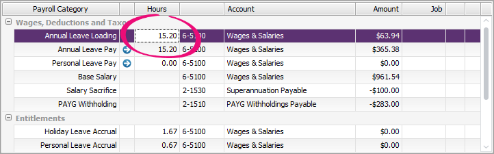Example pay with 15.2 hours entered against leave loading category