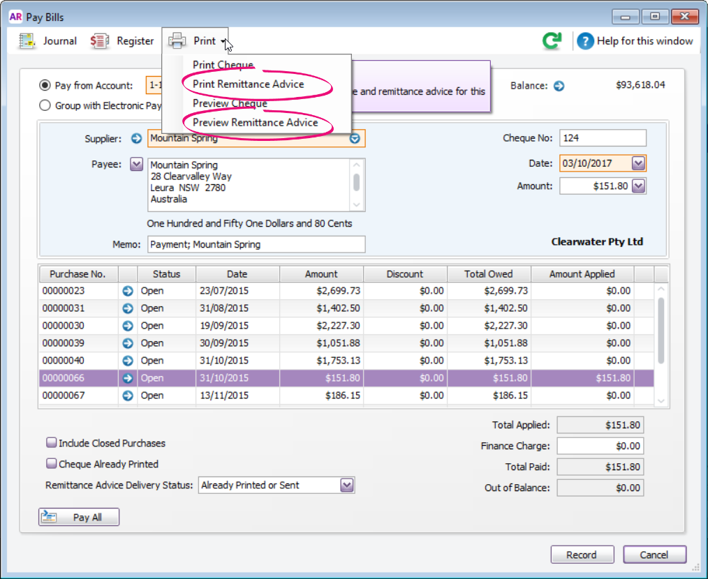 Print or email remittance advices - MYOB AccountRight - MYOB