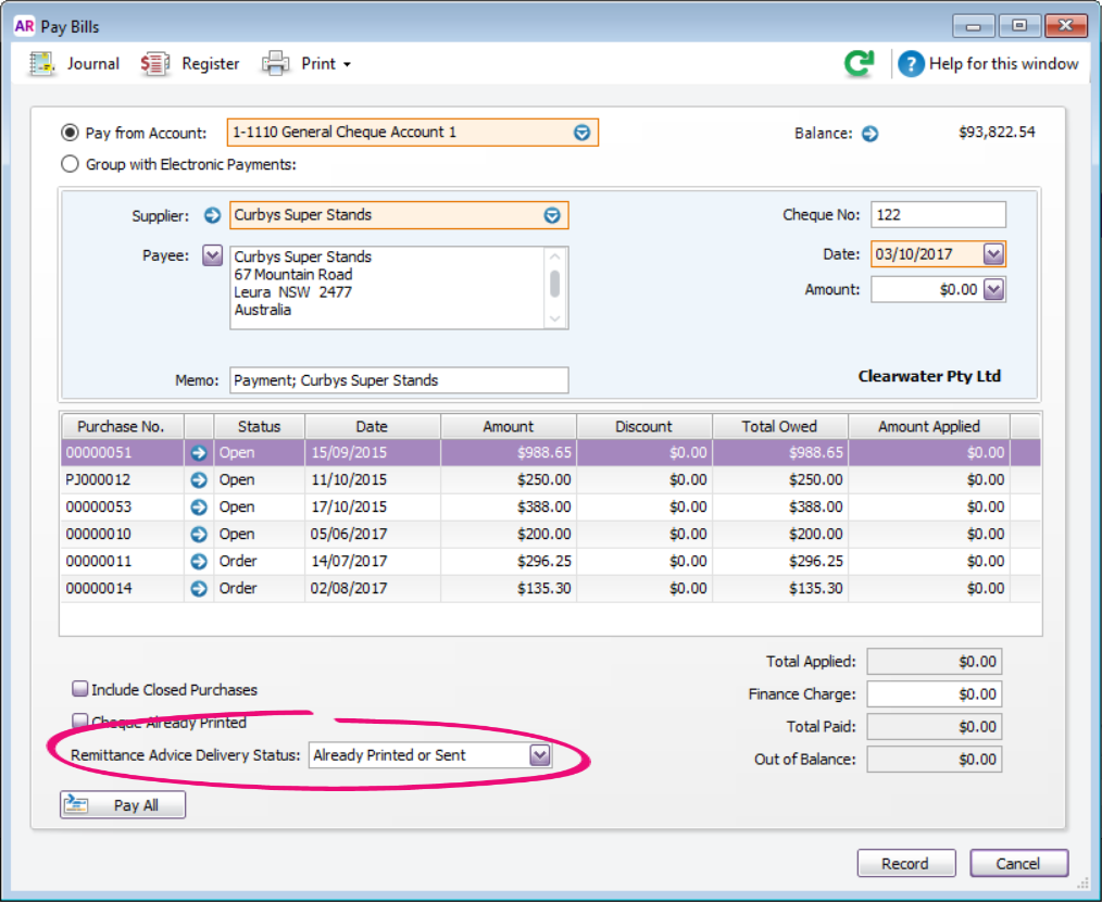 xero how to send a remittance advice