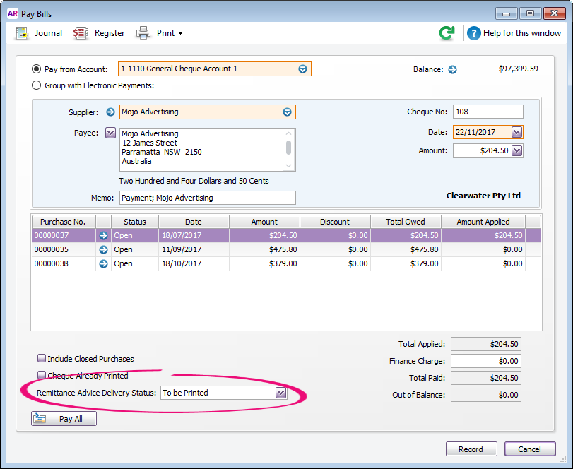 how to change email address in myob