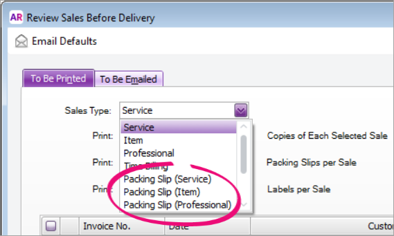 Sale type dropdown list with packing slip sales types highlighted