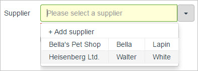 Supplier dropdown list showing selectable contacts