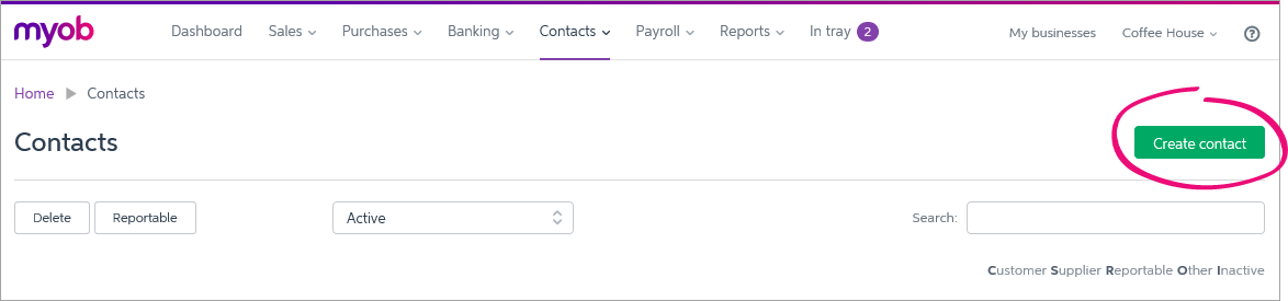 Create contact button highlighted on contacts page