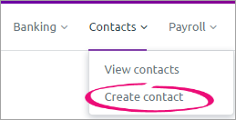 Contacts menu with create contact highlighted
