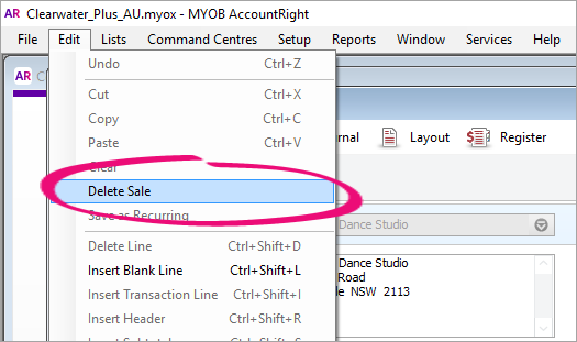deleting an invoice quote or order myob accountright myob help