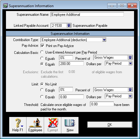 Example employee additional super category setup