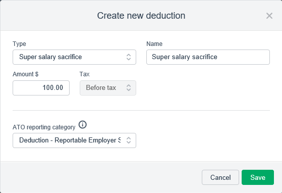 Example salary sacrifice pay item setup