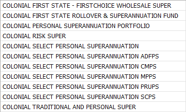 List of super funds all beginning with colonial